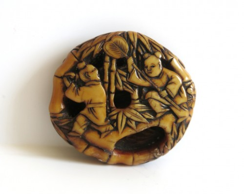 Asian Art & Antiques  - Netsuke - Ryusa Manju Hoteï and Karako. Japan Edo
