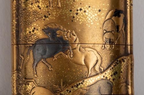 INRO with Horses. Japan Edo 18th century -