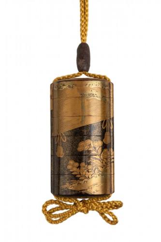 Inro - Gold lacquer of Sudare. Japan Edo