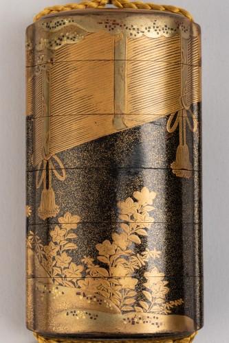 18th century - Inro - Gold lacquer of Sudare. Japan Edo