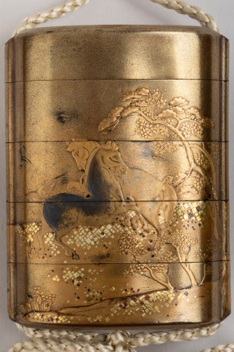 18th century - Gold japanese lacquer Inro, with 4 cases Japan Edo