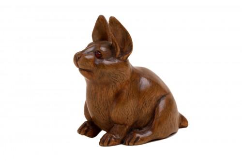 Netsuke - a seated hare. Japan Early Meiji
