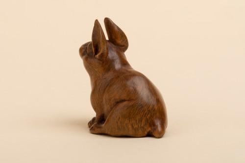 Asian Art & Antiques  -  Netsuke - a seated hare. Japan Early Meiji