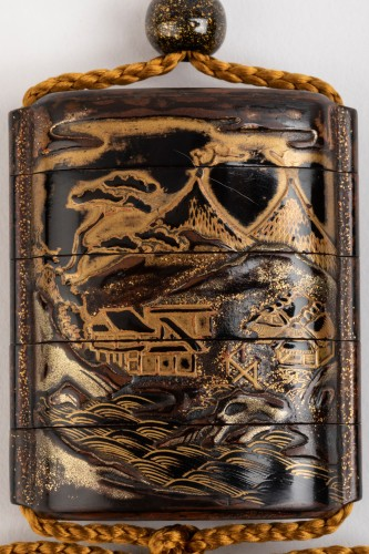 Asian Art & Antiques  - INRO - mountains, hills, pagodas and rocks, Japan Edo