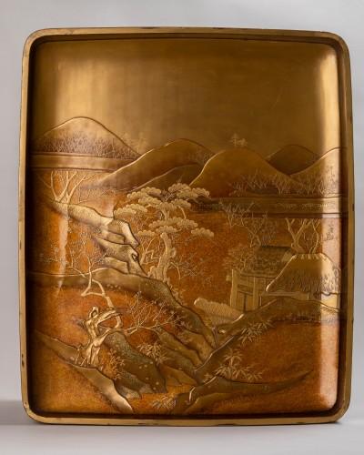 Asian Works of Art  - Ryoshibako - Gold laquer document box Japan Edo 19th century