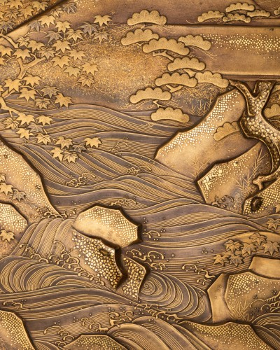 Ryoshibako - Gold laquer document box Japan Edo 19th century -