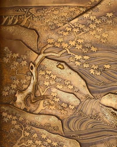 19th century - Ryoshibako - Gold laquer document box Japan Edo 19th century