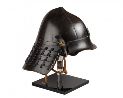 Kabuto - A black lacquer helmet of momonari shape.
