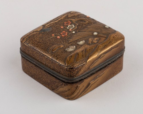 Kogo-small lacquer box with mandarin ducks Japan Edo 18th - Asian Works of Art Style