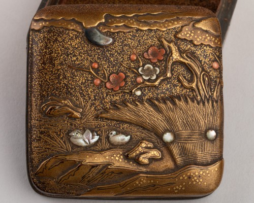 Asian Works of Art  - Kogo-small lacquer box with mandarin ducks Japan Edo 18th