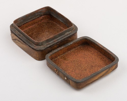 18th century - Kogo-small lacquer box with mandarin ducks Japan Edo 18th