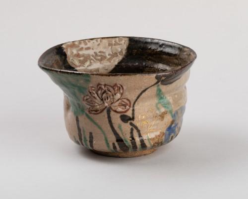 Asian Works of Art  - Tea bowl (chawan) inscribed Kenzan, Rinpa school, Japan Edo 19th