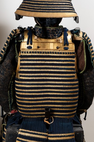 17th century - Armor in gold lacquer laced in dark blue Japan Edo End of 17th