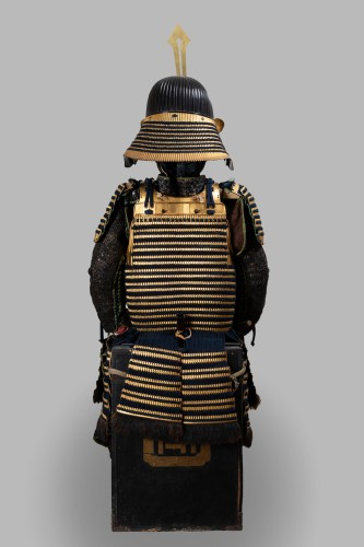 Antiquités - Armor in gold lacquer laced in dark blue Japan Edo End of 17th