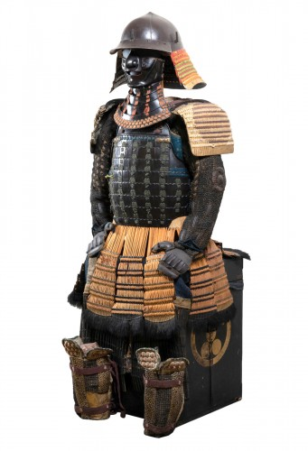 Armor in lacquer laced in orange and green Japan Edo end of 17th