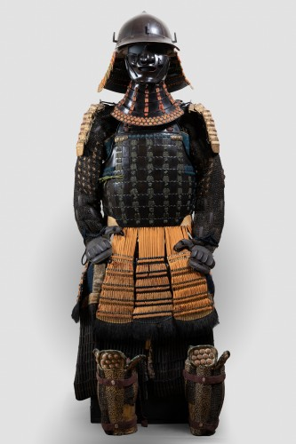 Collectibles  - Armor in lacquer laced in orange and green Japan Edo end of 17th