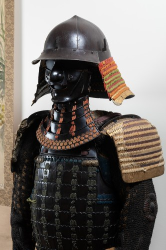 Armor in lacquer laced in orange and green Japan Edo end of 17th -