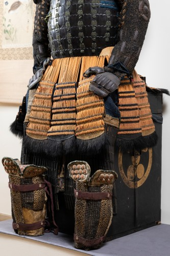 17th century - Armor in lacquer laced in orange and green Japan Edo end of 17th