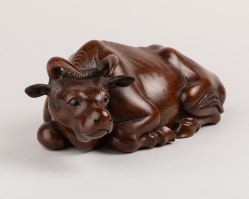 Asian Works of Art  - OKIMONO – A fine wood model of an recombent ox. Japan Meiji 19th century