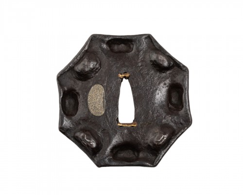 Octagonal Tsuba in wrought Iron in Myochin Style Japan Edo