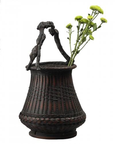 Ikebana bamboo flower basket Japan 20 century