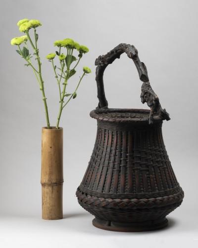 Ikebana bamboo flower basket Japan 20 century - Asian Works of Art Style