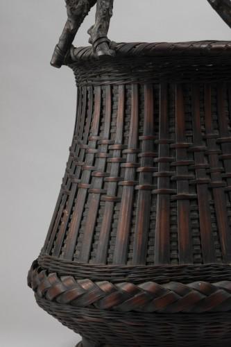 Asian Works of Art  - Ikebana bamboo flower basket Japan 20 century
