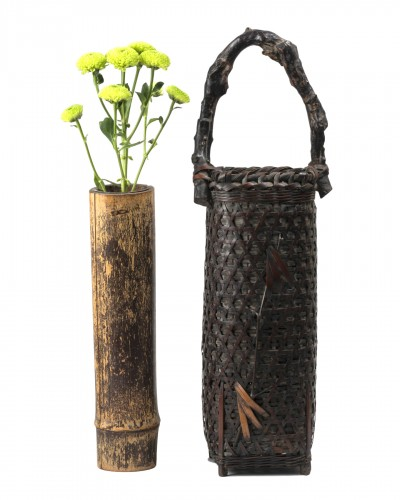 Ikibana smoked bamboo flower basket with handle Japan 20th century
