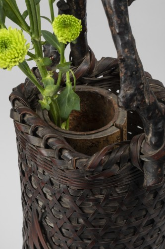 Asian Works of Art  - Ikibana smoked bamboo flower basket with handle Japan 20th century