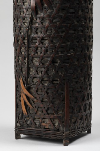 Ikibana smoked bamboo flower basket with handle Japan 20th century -
