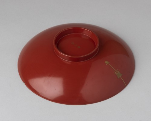 19th century - Sakazuri - Cup for Saké in red and golden lacquer Japan Edo 19th