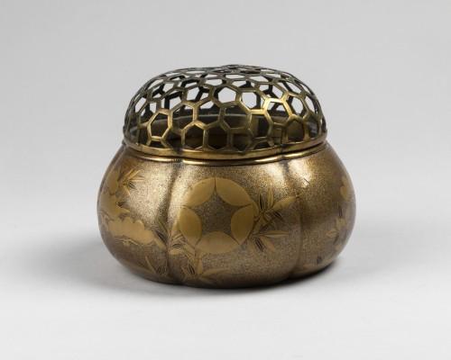 Asian Works of Art  - Akoda Koro - pumkin shape incense burner Japan Edo 18e