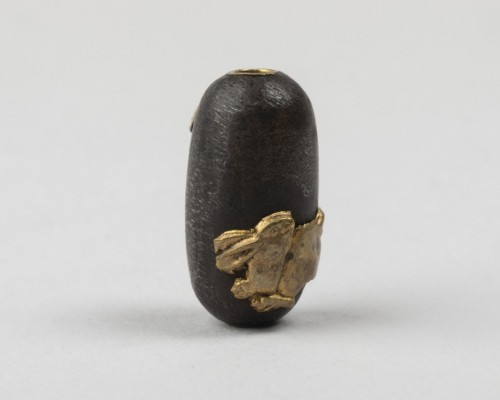 Asian Works of Art  - Cylindrical ojime with fruits and mice & rabbit and moon, Japan Edo 19th century