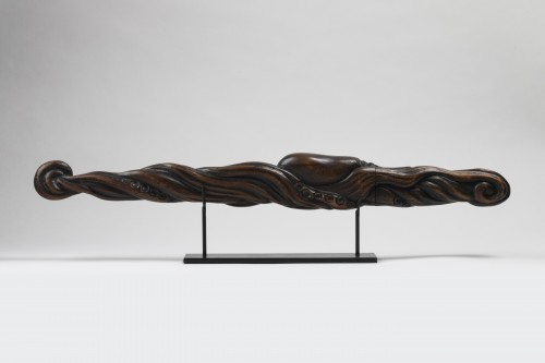 Wood carved Tantô Unusual and beautiful octopus shape. Japan Edo - Asian Works of Art Style