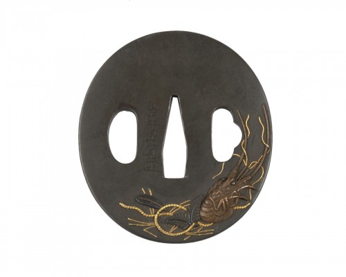 Tsuba by Iwanoto-konkan decorated with crayfish, Japan Edo 18th century