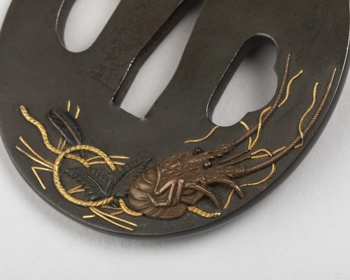 Asian Works of Art  - Tsuba by Iwanoto-konkan decorated with crayfish, Japan Edo 18th century