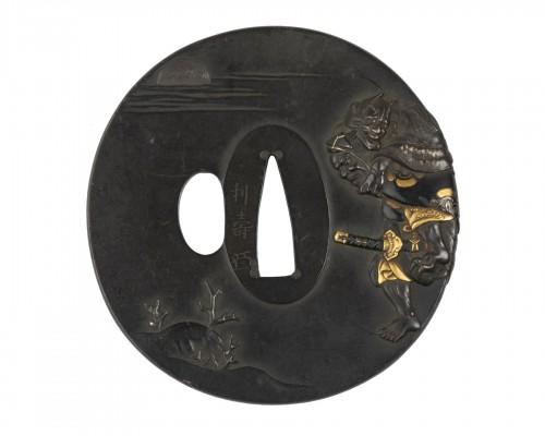 Tsuba by Toshinaga- Hiko-Shichi the witch Chichaya. Japan Edo
