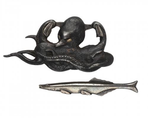 2 Menuki : octopus and fish, Japan Edo 19th siècle