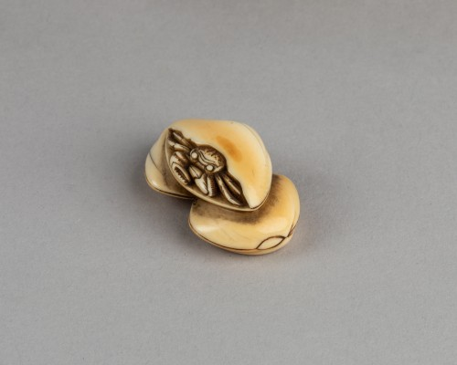 Asian Works of Art  - NETSUKE – Crab and shells. Japan Edo