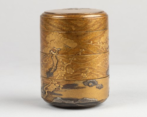 Asian Works of Art  - Three-tier lacquer Jukogo - Plum and Pine trees. Japan Edo
