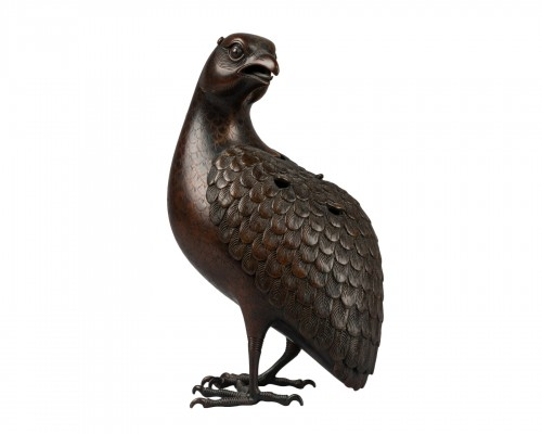 Quail carved incense burner in bronze