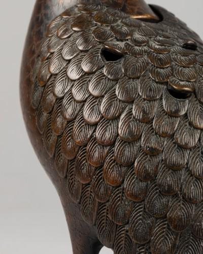 Asian Works of Art  - Quail carved incense burner in bronze. Japon Edo