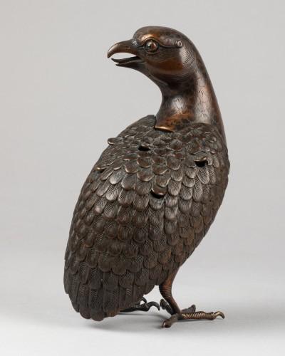 Quail carved incense burner in bronze. Japon Edo -