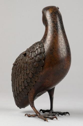 19th century - Quail carved incense burner in bronze. Japon Edo