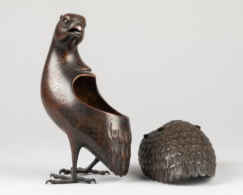 Antiquités - Quail carved incense burner in bronze. Japon Edo