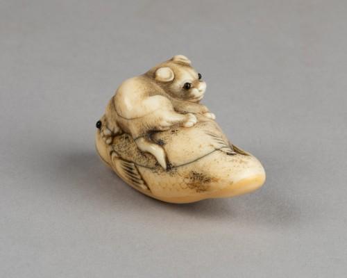 18th century - Netsuke – Puppy staying on a huge Fugu. Japon Edo