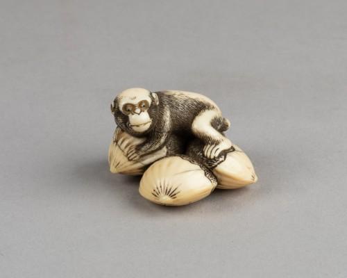 Netsuke – Monkey lying on four linked chestnuts. Japan Edo - Asian Works of Art Style