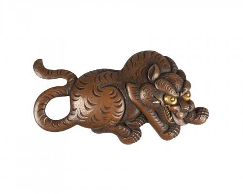 Tiger in Shakudo metal, Japan Edo