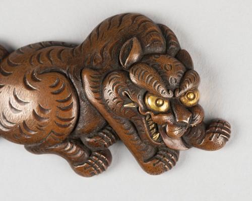 Tiger in Shakudo metal, Japan Edo - Asian Works of Art Style