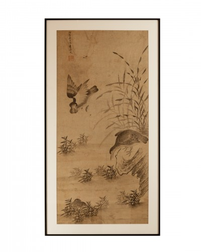 Geese and reeds - Ink wash painting Chinese Qing dynasty